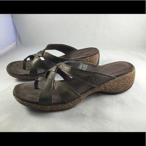 Merrell leather sandals with cork heel bronze